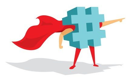 Cartoon illustration of super hashtag standing with cape