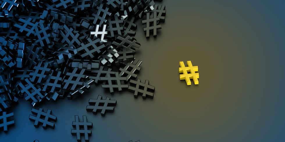 Infinite hashtags on a plane, original 3d rendering illustration. With one icon distinct and out from the crowd.